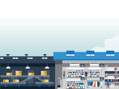 Shipping 1/3 landscape factory industry transportation delivery retail shopping market vector illustration