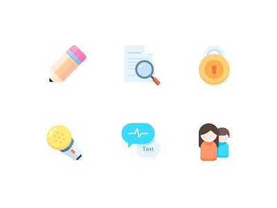 Icon 2x voice avatar text lock pen clean illustration design ui