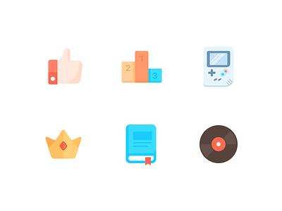 Icon 2x music book crown rank game design illustration