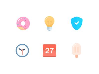 Icon 2x shield light time calendar donut icon illustration design