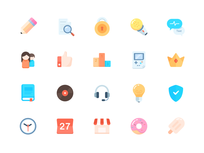 Icon 2x pen voice text lock avatar music rank game crown book donut calendar time shield light icon illustration design