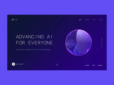 AI Lab lab ai animation web interface clean ui design