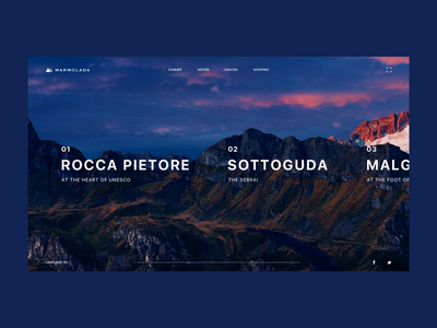 Marmolada mountain transitions animation clean ui design interface web