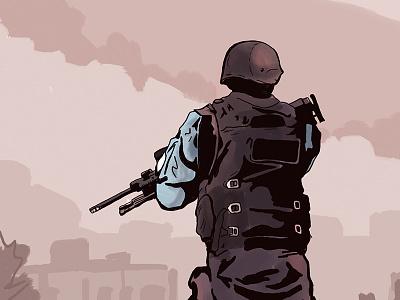 Favela Patrol rifleman illustration patrol pacification police favela janeiro de rio