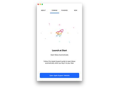 Onboarding - Launch information empty space mac app mac onboarding