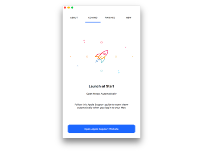 Onboarding - Launch information empty space mac app mac onboarding