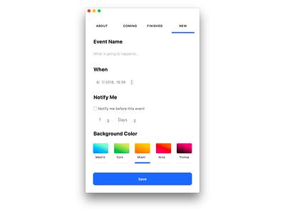 New Event Form mac app gradients mac form