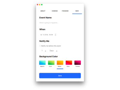 New Event Form mac app gradients mac form
