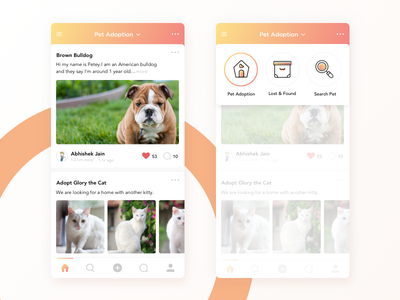 Pet App icons clean cat dog lost  found search adoption ux ui app animal pet