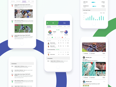 Cricket App ux ui match social highlights stats scorecard app game sports cricket