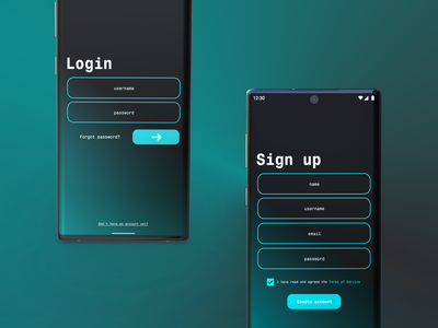 Neon Blue Login/Sign-up neon blue neon figma signup login