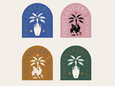 Grottangeles Logo branding grottangeles logotype tshirt logo design jar palm ceramic rooster illustration typography logo