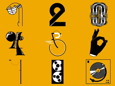 Numberz bike turntable cassette basketball hand font lettering type typography number