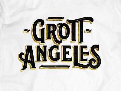 Grottangeles illustration typo font type black gold lettering grottangeles typography