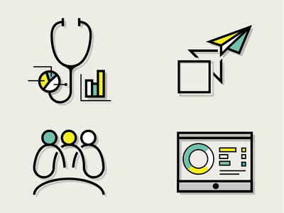 Healthcare strategic consulting color cool evolution transformation unity balance web medicine set icon strategy healthcare