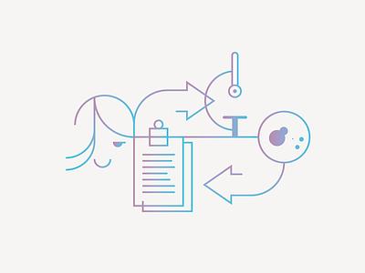 Technology transfer medicine healthcare web minimal outline gradient illustration icon ux ui