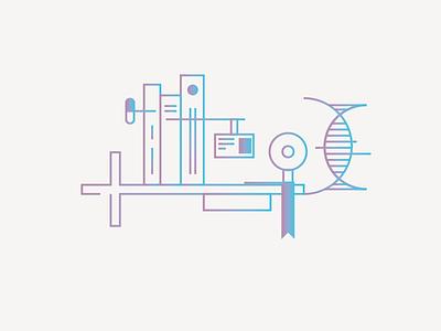Higer education medicine healthcare web minimal outline gradient illustration icon ux ui