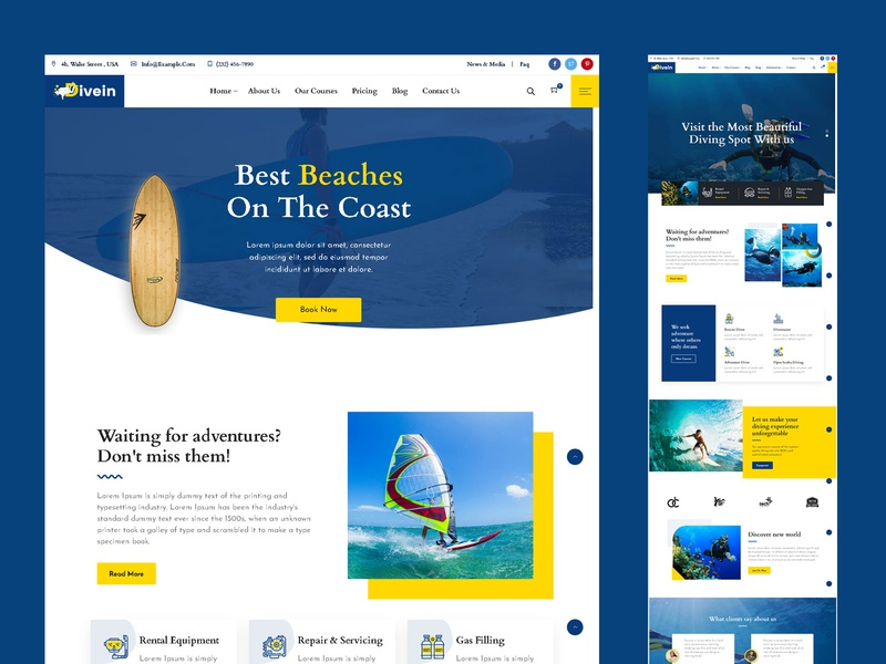 Divein – Scuba Diving & Surfing WordPress Theme water sports surfing sports snorkeling scuba diving store scuba diving marine holidays hiking free diving booking boating adventure activities