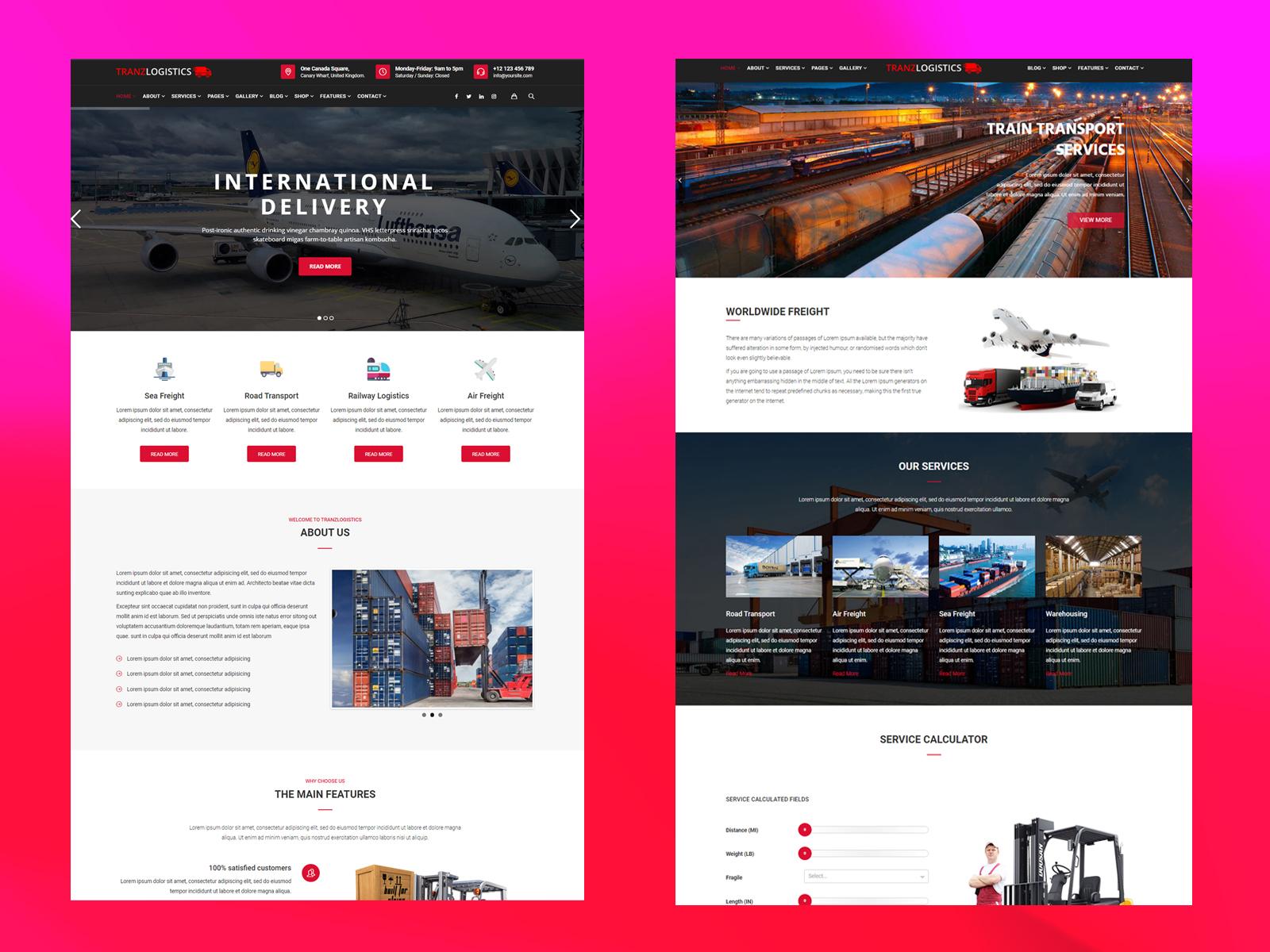 Courier Website Responsive Transportation