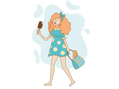 Summer girl hot girl illustration summer girl girl sunny hot ice cream summer