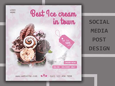 Social Media Post photoshop pink trends design graphic design ice cream facebook banner facebook stories web banner design social media banner facebook post instagram stories instagram post social media social media post