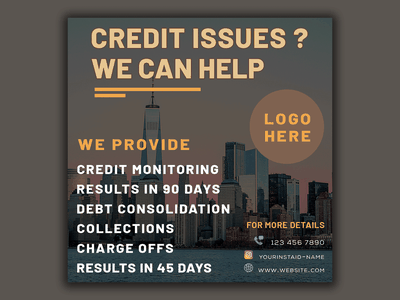 Social Media Post gorgeous city business flyer photoshop trends square flyer corporate business graphic design credit repair facebook banner social media banner facebook post instagram stories instagram post social media social media post