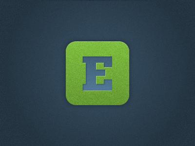 E is for... icon texture e green blue