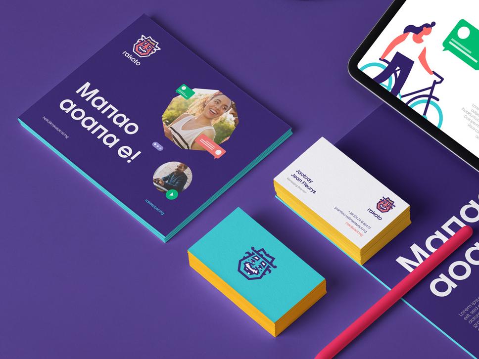 Rakoto Branding Elements typography character illustration layout mockup stationery mark vector branding logo