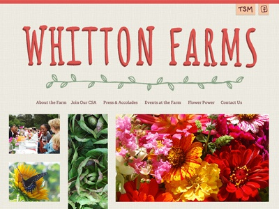 Whitton Farms farm lettering typography website navigation homepage photography red green serif drop shadow