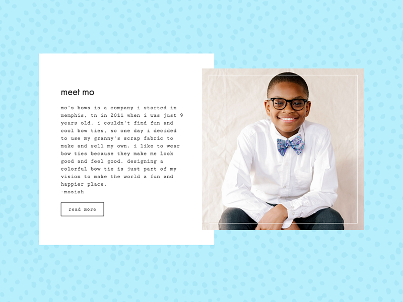 Meet Mo web design pattern website bow ties mos bows