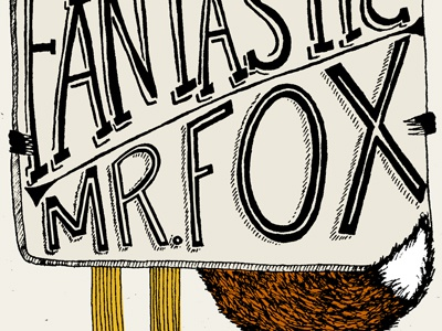 FOXY illustration orange yellow black typography hand lettering