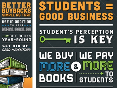 BookFool Trade Show Panels typography illustration orange blue green white lost type co-op