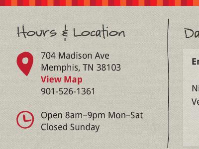 Hours & Location illustration typography website web design linen red orange icons