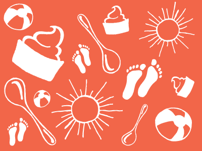 I can't draw a circle illustration pattern yogurt spoon sun feet ball beach orange white