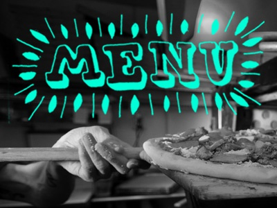 Menu typography menu pizza photography blue rollover navigation lettering