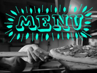 Menu typography menu pizza photography blue rollover navigation lettering