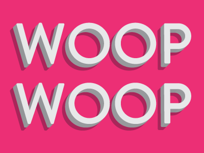 Woop typography pink 3d shadow white brandon grotesque