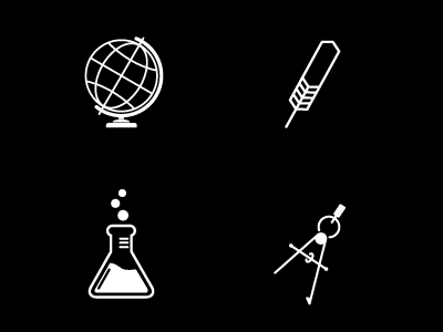 Studying icons icon study globe feather quill pen compass beaker science english math geography
