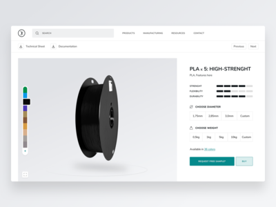 3D Filaments : Product Informations product customisation configurator comparator 3d printing filament 3d