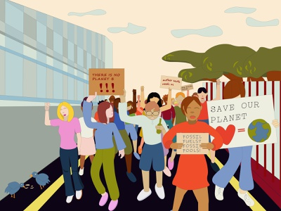 Climate Strike fridays for future political illustration climate change protest protest illustration climate strike vector illustration vector art adobe illustrator illustration