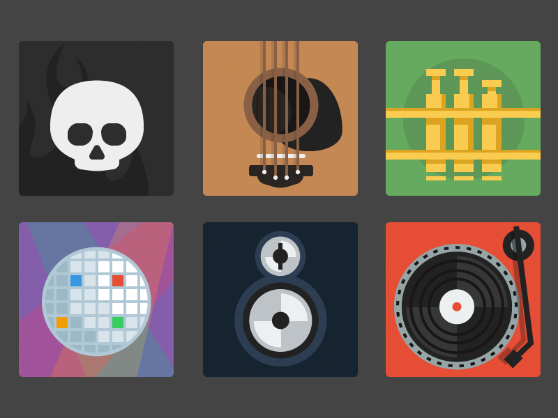 Music Icons skull guitar trumpet mirrorball speaker turntable music icons illustrator