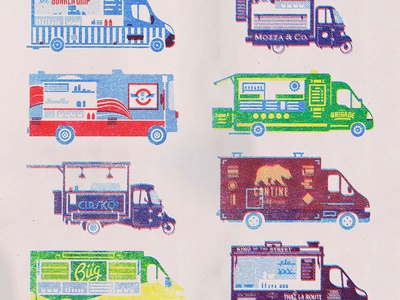 Paris by Foodtruck animation gif printing map foodtrucks trucks paris illustrator riso