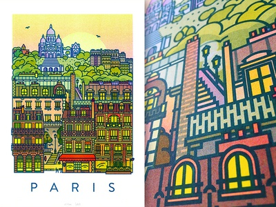 Paris Riso Poster france sunset building city printing riso poster illustration paris