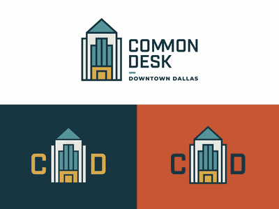 Common Desk Downtown Dallas Logo skyscraper building dallas branding vector typography illustration logo design logo