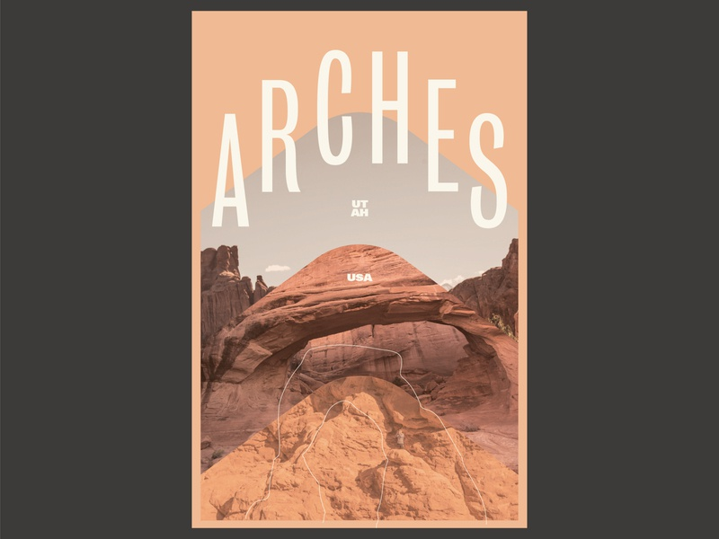 Arches National Park Poster utah daily national park arches 100 day project collage design poster layout