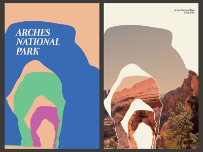 Arches National Park Posters daily 100 day project design abstract geometric collage national park arches layout poster design poster