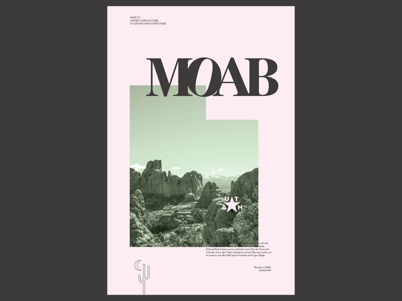Moab Utah Poster national parks utah typography layout daily 100 day project design poster moab