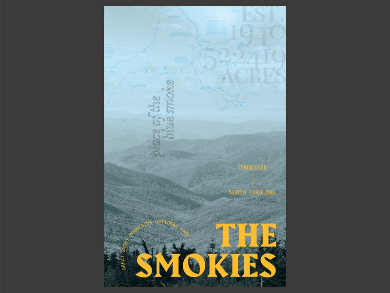 Great Smoky Mountain National Park poster collage illustration 100days layout design typography 100 day project
