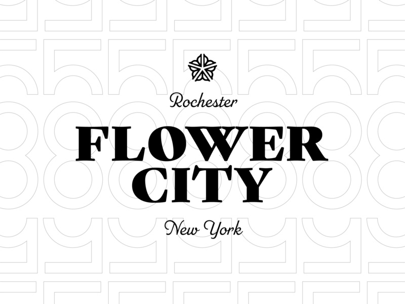 Rochester Flower City Lockup design daily 100 day project logo typography new york rochester flower city 585 lockup type
