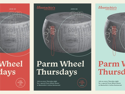 Italian Restaurant Parm Wheel Flyers 100 day project daily identity design design layout parm wheel granby colorado italian restaurant flyer poster typography